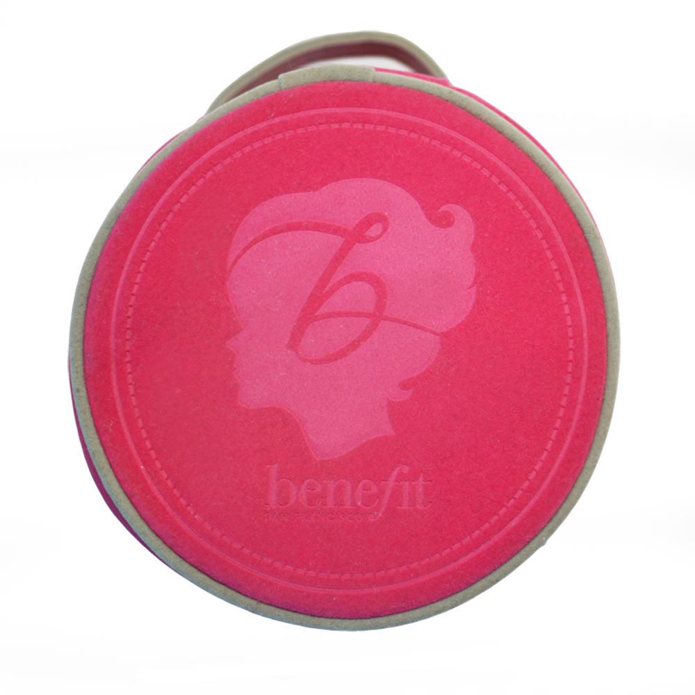 Benefit Pink Suede Round Makeup Bag