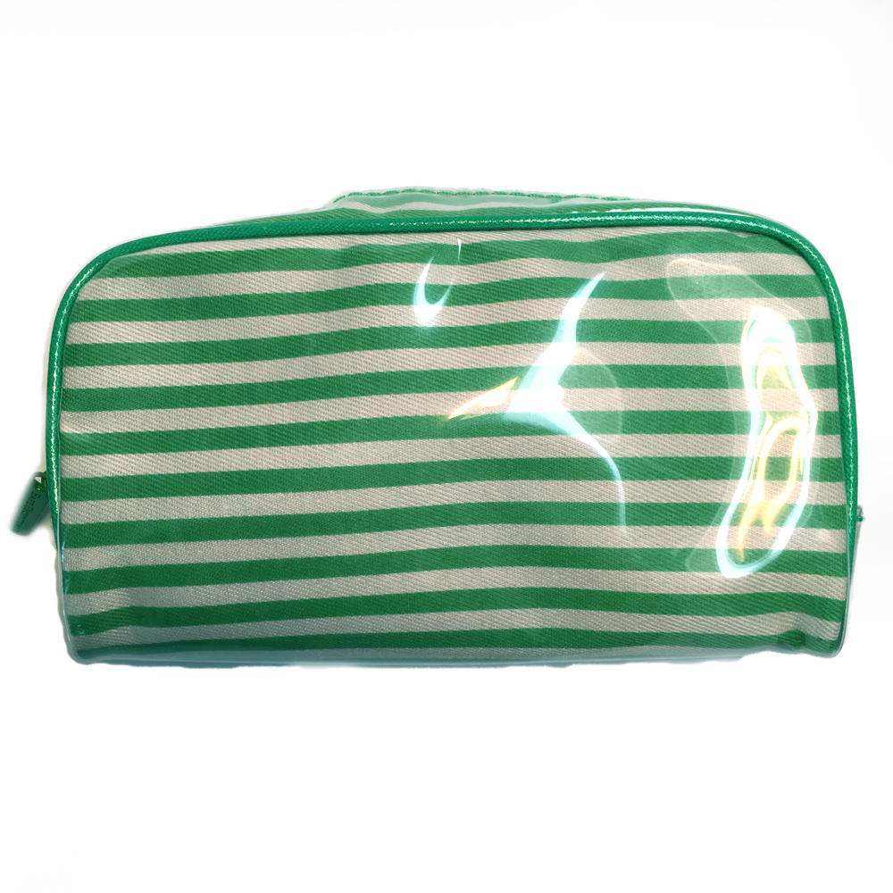 bare Escentuals Green Striped Makeup Bag